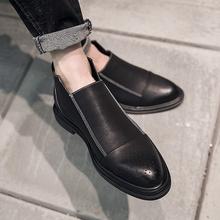 英伦拉链短靴时尚 布洛克雕花低帮男鞋 秋冬新款 切尔西靴男马丁男靴