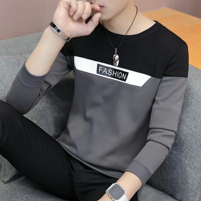 2018春秋季圆领t恤男士长袖上衣小衫青少年韩版卫衣休闲男装衣服