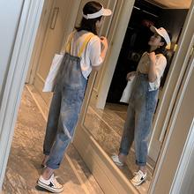 减龄网红牛仔背带裤女韩版宽松春季2019新款森女连体显瘦吊带百搭图片