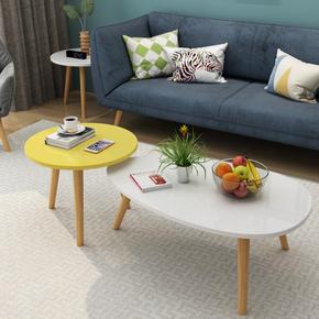 北欧客厅茶几小户型实木小茶几简约现代经济型阳台迷你椭圆形桌子
