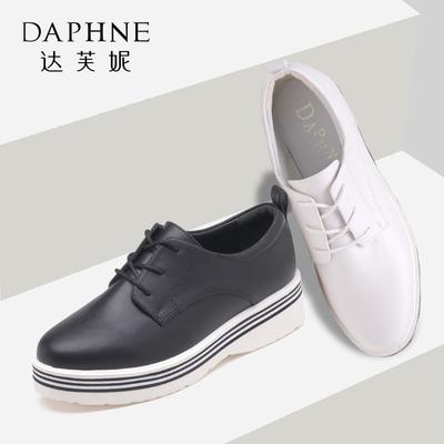 Daphne/达芙妮春秋圆头深口时尚简约绑带英伦风单鞋女 1016404162