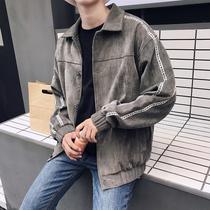 2019春秋季新款外套男士工装夹克韩版修身棒球服复古翻领百搭潮