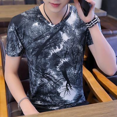 2019夏季男士短袖t恤男青少年v领汗衫韩版印花学生冰丝体恤上衣潮