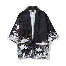 日系复古暗黑浮世绘道袍和服开衫男女中国风宽松七分袖衬衣外套潮