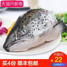 万岛国冰鲜(非冷冻)新鲜进口三文鱼鱼头一个0.5-0.8kg 三文鱼头