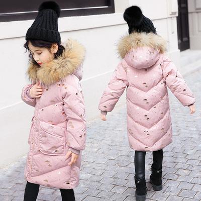 巴布豆童装儿童羽绒服女童中长款韩版中大童2018新款宝宝洋气外套
