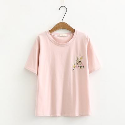 2018夏装新款韩版小清新森女系短袖t恤兔子刺绣圆领宽松百搭学生