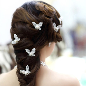 New 6 Pcs Lot Silver Butterfly With Faux Pearl U Hairpin Hai