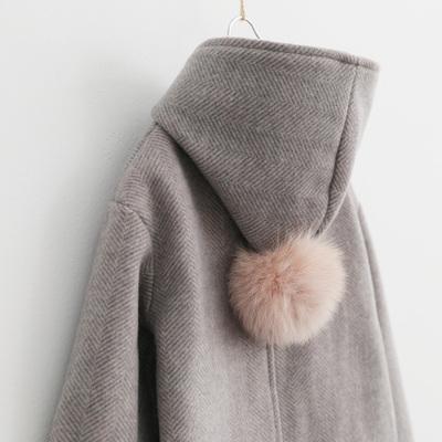 Sun 童品 女童呢子大衣2018冬装新款中大童韩版连帽毛呢洋气外套