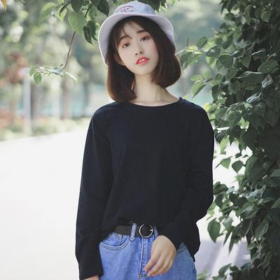 汀威2018秋季新款韩版宽松百搭慵懒风纯棉黑色长袖t恤女打底衫潮