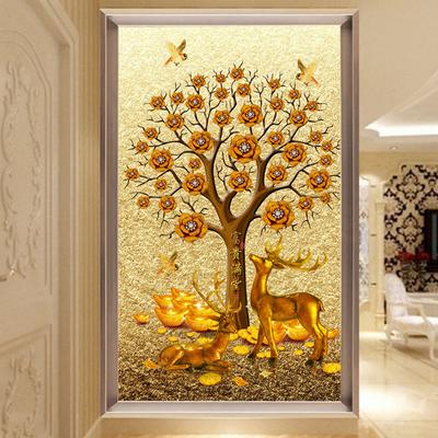 3d立体玄关壁画客厅走廊过道竖版背景墙壁纸欧式大型发财树5d墙布618大促