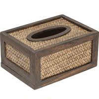 Creative simple solid wood living room tissue box bamboo braided tray retro paper pumping box rattan wooden napkin tray