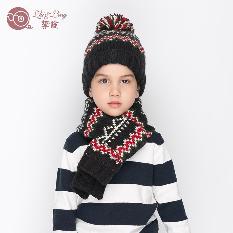 秋冬季儿童围巾帽子两件套套装加绒保暖男孩毛线帽中大男童针织帽
