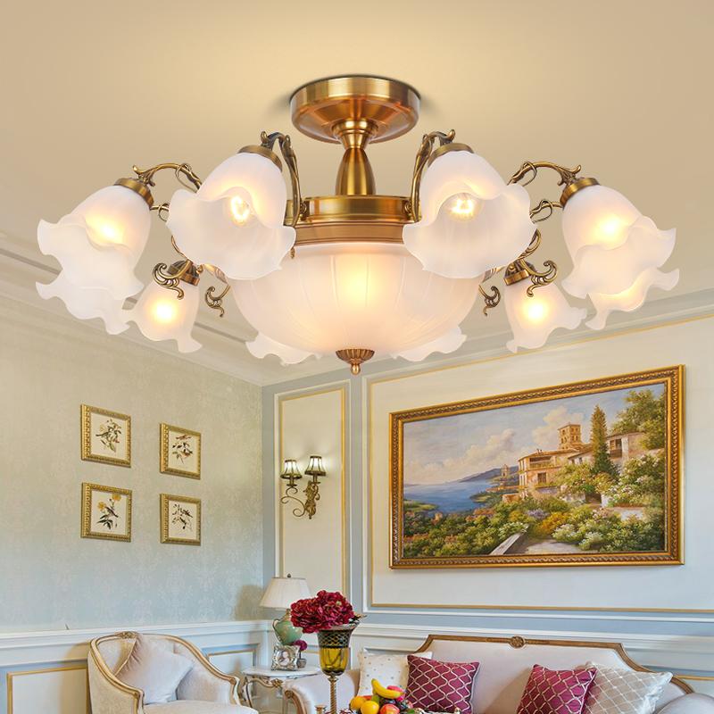 2019新款客厅吸顶灯欧式奢华大气家用家装古铜8 10头灯头朝下吊灯