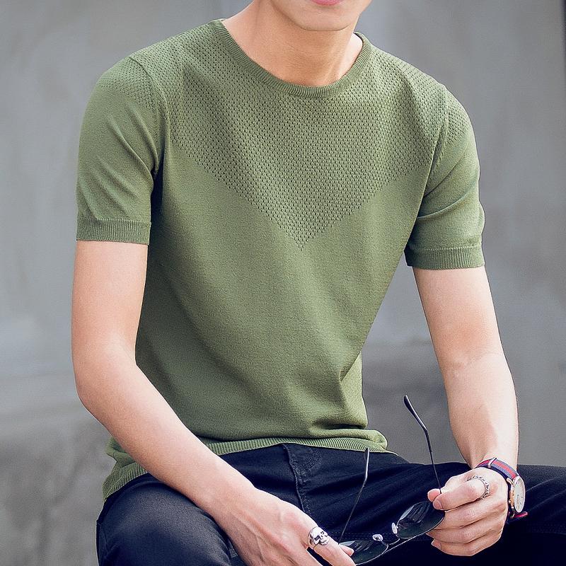 新款短袖毛衣男士半袖圆领套头打底衫纯色薄款针织衫修身T恤潮流