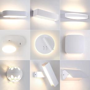 壁灯卧室床头灯白北欧简约现代过道楼梯卫生间led客厅背景墙灯具