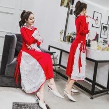 仙气长裙冬裙女2018新款心机设计感拼接刺绣花秋冬打底针织连衣裙