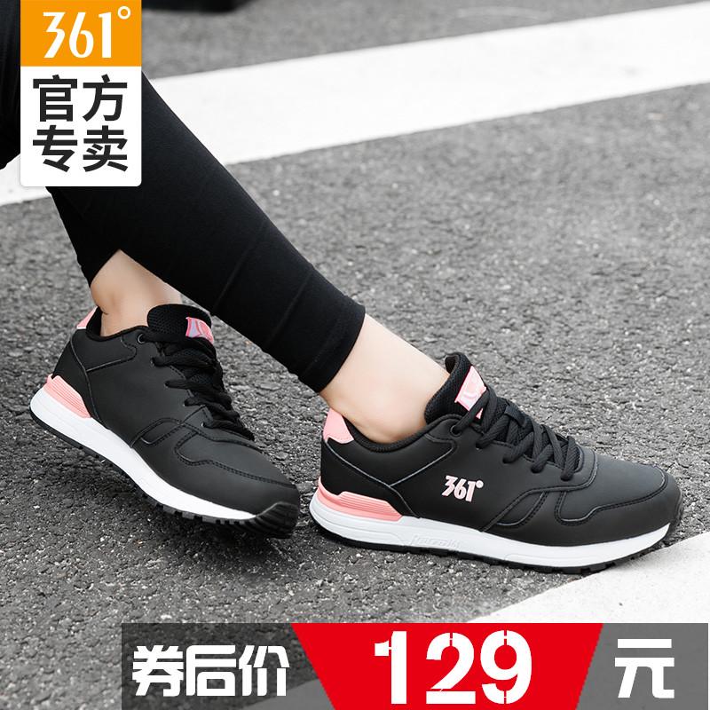 361运动鞋女皮面2018秋冬季新款正品防滑361度保暖黑休闲跑步鞋男