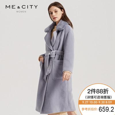 折|MECITY女长款腰带收腰兔毛领羊毛呢大衣外套加厚保暖