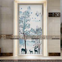 北欧艺术玻璃客厅电视沙发背景墙隔断玄关双面屏风鞋柜麋鹿发财树