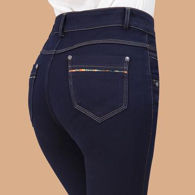 2018春秋季新款中年弹力高腰牛仔裤女士中老年妈妈裤长裤子小脚裤