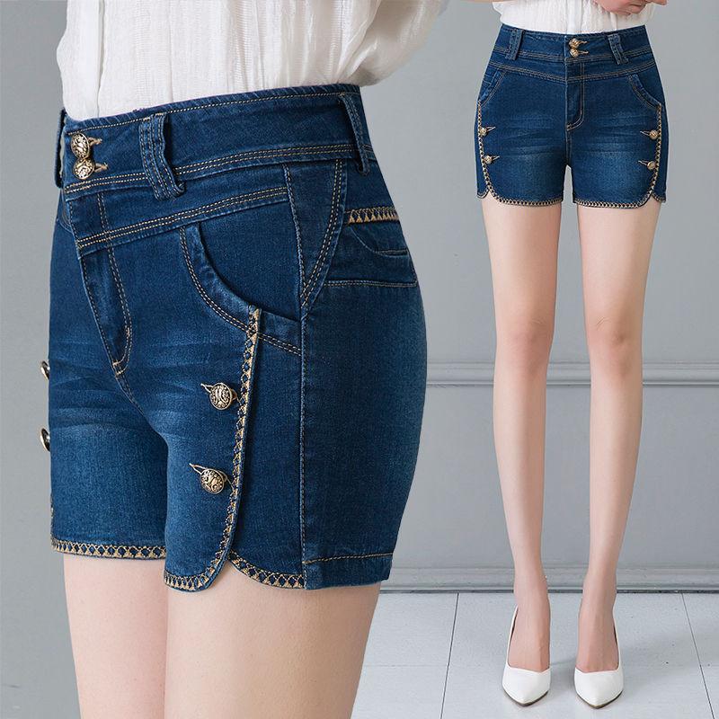 2019新款牛仔短裤女夏季外穿弹力高腰大码女士显瘦黑色牛仔裤热裤