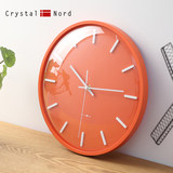 Crystal Nord orange curved glass wall clock living room mute personality bedroom cute solid wood Nordic style