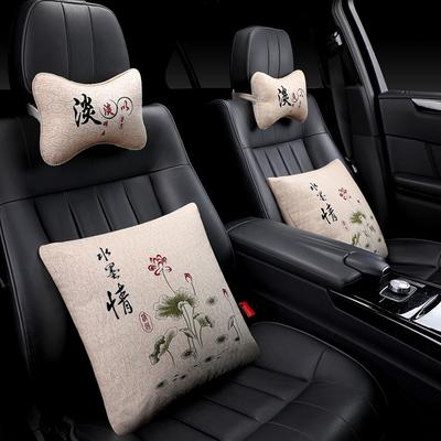 印花中国风汽车头枕护颈枕车载靠枕一对内饰车用枕头腰靠枕垫抱枕