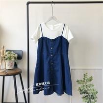W6栗家铺大码-韩版牛仔吊带连衣裙假2件白色螺纹短袖T14-3