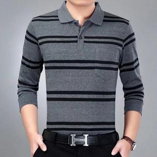 新款 男式长袖 中老年人大码 条纹体恤爸爸装 t恤中年棉翻领polo衫