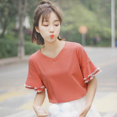 帛卡琪2018新款夏装短袖小清新纯色荷叶边花瓣袖T恤女生V领上衣潮