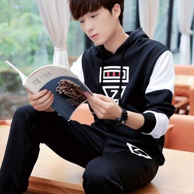春秋季休闲运动学生大码修身男装韩版潮流整套全套一套衣服裤子