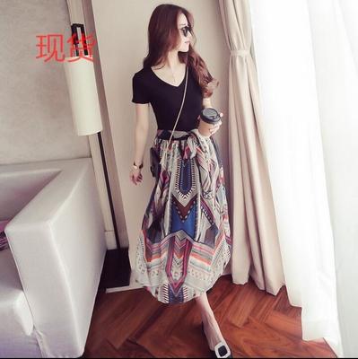 雪纺连衣裙女短袖假两件套2018夏季新款韩版时尚气质波西米亚长裙