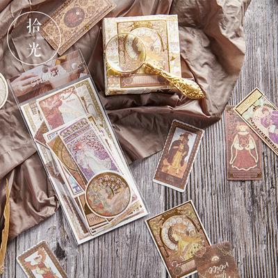 拾光和纸贴纸包 穆夏之色 复古烫金文艺风手账装饰DIY拼贴素材