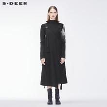 sdeer圣迪奥2018冬装新款女装长款黑色不规则连衣裙S18481228图片