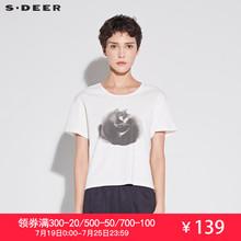 sdeer圣迪奥2019夏装新款简约圆领撞色猫咪印花短袖T恤S18660103图片