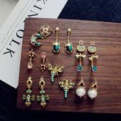 复古耳钉欧美宫廷巴洛克彩釉彩宝石月亮十字架珍珠耳环百搭耳饰图片