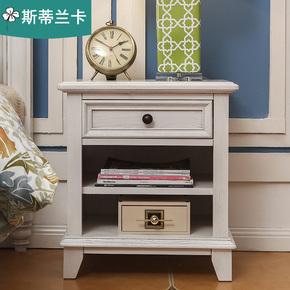 美式乡村实木卧室家具白色床头柜简美风格多层床边柜置物柜收纳柜