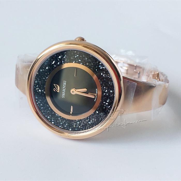 联保 施华洛世奇专柜正品玫瑰金 黑色满天星钢带水晶手表5295334