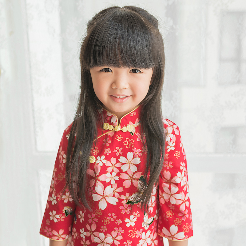 秋季儿童旗袍唐装女童红色洋气薄款鎏金中国风复古宝宝公主裙古装
