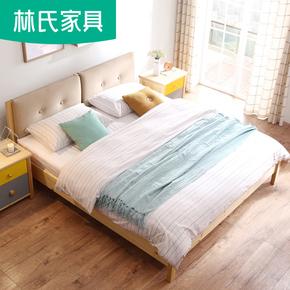 林氏家具实木床单人床成人1.8米小户型北欧床床头软包双人床DJ1A