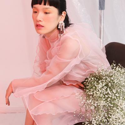 18春 设计款网纱透明连衣裙 重工立体长袖荷叶边  欧根纱仙女长裙