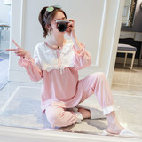 Pregnant women's monthly clothes Spring and Autumn cotton long sleeve pregnant women's pajamas postpartum lactation clothes and maternal summer clothes and trousers two sets