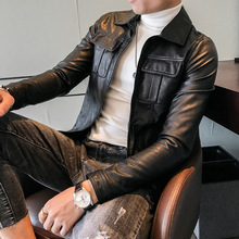 Autumn winter men's Korean version of pure color leather jacket, British casual suit, leather jacket, motorcycle jacket, young men's tide.