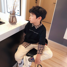 Children's and Boys'Wear Fake Two Sanitary Wardrobes 99015 Spliced with Korean Chaozhou Chequered Shirts in Autumn of 2019