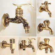 全铜水嘴厨房单冷拖把池洗衣机专用水龙头复古快开入墙仿古加长