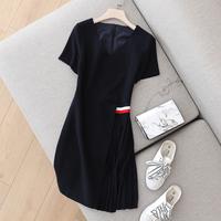 别出心裁 2018夏装新款英伦风V领短袖连衣裙女不规则百褶雪纺裙