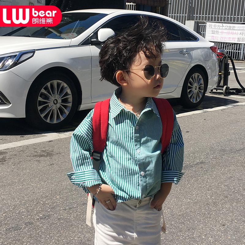 男童帅气长袖衬衣