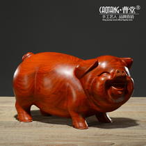 Pear wood carving pig ornaments lucky feng shui home living room creative cute desktop furnishings mahogany carving crafts