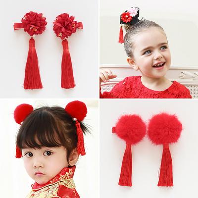 儿童流苏头饰 中国风发夹对夹 可爱毛球发箍 红色喜庆格格小发卡